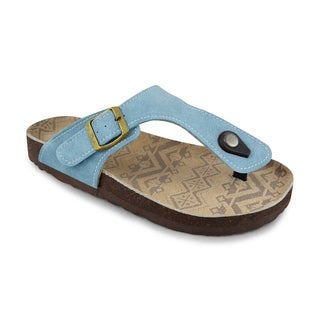 Muk Luks Women's 'Terra Turf' Light Blue Cow Suede Sandals