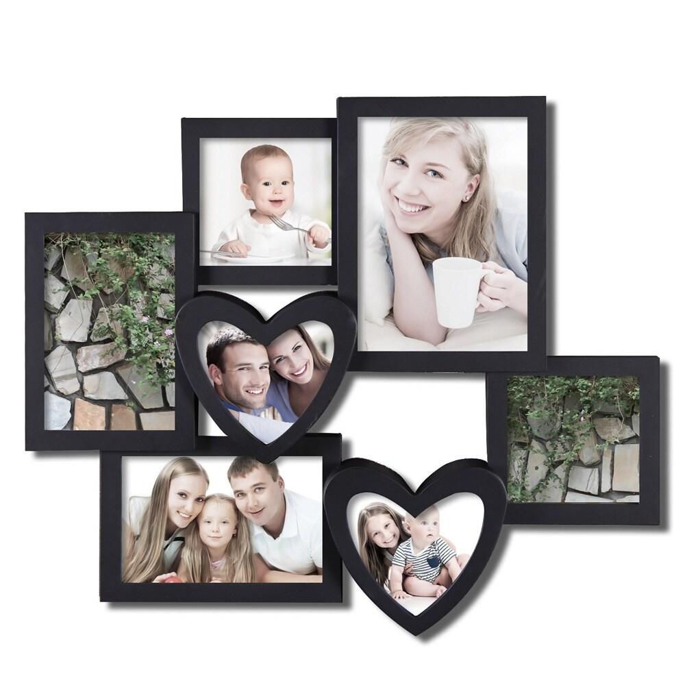Adeco Adeco 7 opening Heart shaped Black Hanging Collage Photo Frame ...