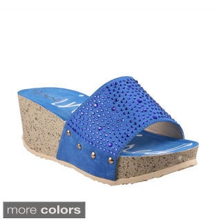 Refresh Women's 'Elva-02' Rhinestone Studded Slide Wedge Sandals