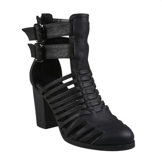 Refresh Women's 'Endora-01' Black Caged Gladiator Bootie Sandals