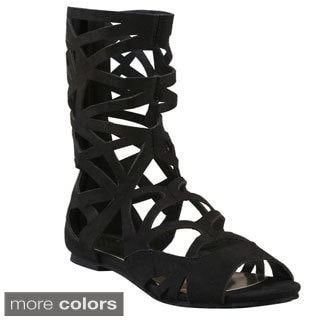 Refresh Women's 'York-01' Cut-out Mid-calf Gladiator Boots