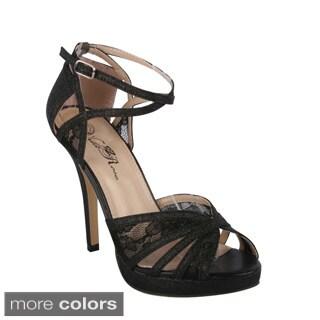 Wildrose Women's 'Kakoa-335A' Lace Mesh Stiletto Dress Sandals