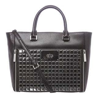 MICHAEL Michael Kors 'Natalia' Large Black Leather Tiled Tote