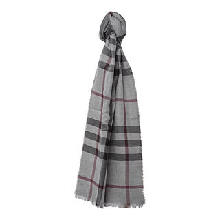 Burberry Mid-grey Cotton and Cashemere Check Houndstooth Scarf