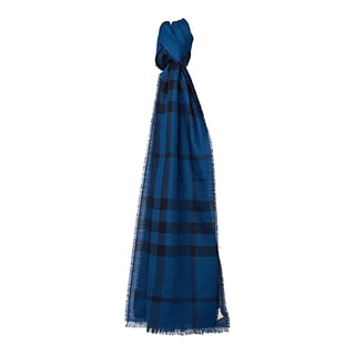Burberry Navy Cotton and Cashemere Check Houndstooth Scarf