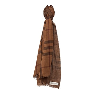 Burberry Light Toffee Cotton and Cashemere Check Houndstooth Scarf