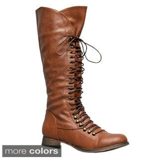 Soda Women's 'Water-S' Knee-high Lace-up Combat Boots
