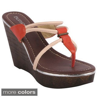 Bumper Women's 'Perry-02' T-strap Cork Wedge Sandals