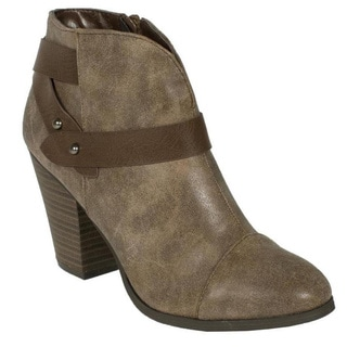 City Classified Women's 'Brag-H' Taupe Pointy Toe Ankle Booties