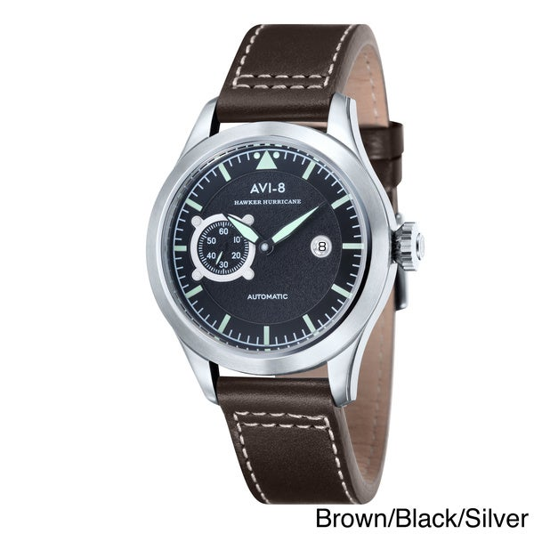 AVI-8 Men's 'Hawker Hurricane' Leather Strap Automatic Watch