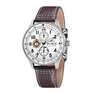 AVI-8 Men's 'Hawker Hurricane' Chronograph Brown Leather Watch