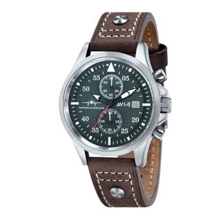 AVI-8 Men's 'Hawker Hurricane' Leather Strap Green Dial Watch