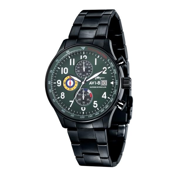 AVI-8 Men's 'Hawker Hurricane' Black Stainless Steel Chronograph Watch