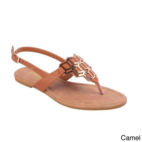 Diviana Women's 'Jalila-23' Cut-out Metal Plate Flat Sandals
