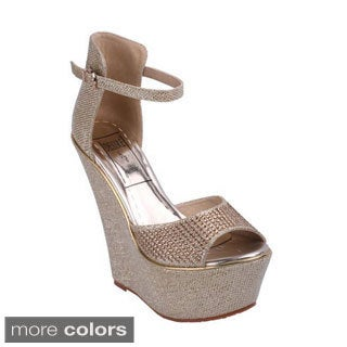 Jacobies Women's 'Moda-5' Glittery Ankle Strap Wedge Sandals