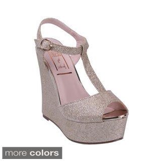 Jacobies Women's 'Tango-8' Glittery T-strap Wedge Sandals