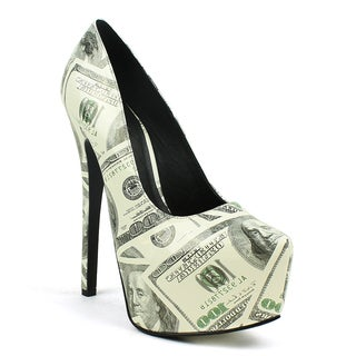 Fahrenheit Women's 'Erin-01' One-hundred Dollar Printed Pumps