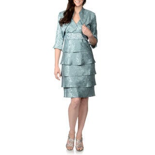 R & M Richards Women's Slate Brocade Tiered Jacket and Dress Set