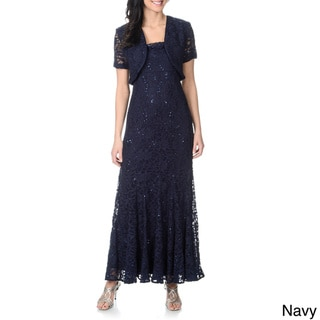 R & M Richards Women's Lace Overlay Jacket and Evening Gown Set