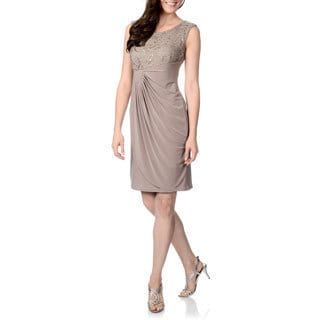 R & M Richards Women's Mocha Side Draped Dress