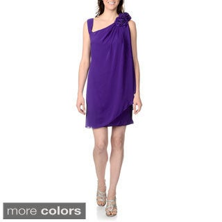 R & M Richards Women's Rosette Detail Cocktail Dress