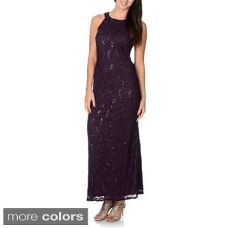 R&M Richards Women's Mocha Sequin Lace Evening Gown