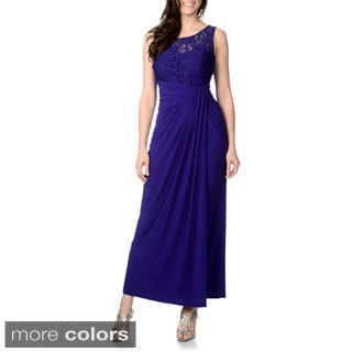 R & M Richards Women's Mixed Fabric Evening Gown