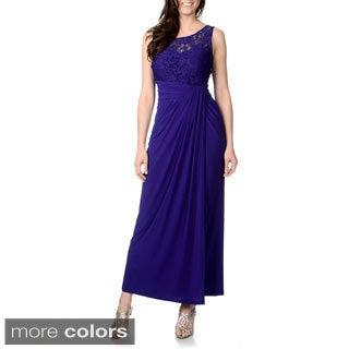 R & M Richards Women's Royal Blue Mixed Fabric Evening Gown