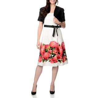 R & M Richards Women's Black/ White Floral Trim Shantung Jacket and Dress Set