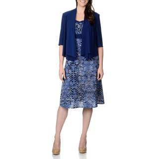 R & M Richards Women's Denim Blue Snake Print Jacket and Dress Set