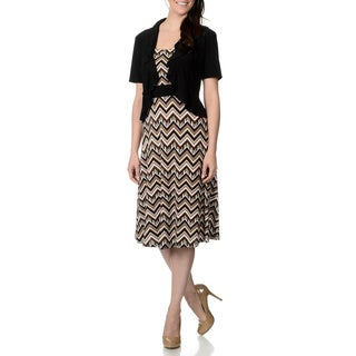 R & M Richards Women's Black/ Taupe Chevron Pattern Jacket and Dress Set