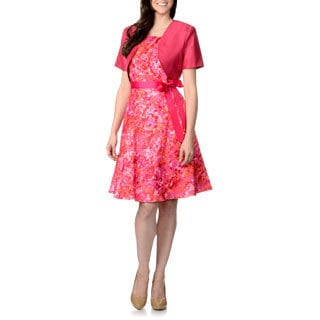 R & M Richards Women's Coral Watercolor Shantung Jacket and Dress Set
