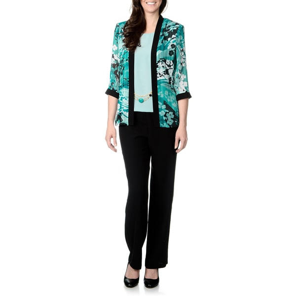 R & M Richards Women's Jade/ Black 2-piece Pant Set