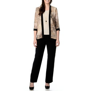 R & M Richards Women's Black and Taupe 2-piece Pant Set