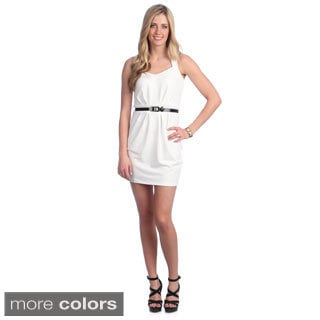 Women's Solid Belted Sweetheart Dress
