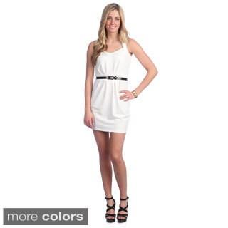 Hadari Women's Solid Belted Sweetheart Dress