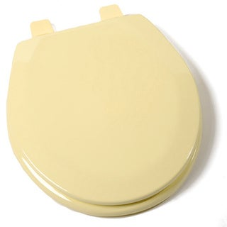 Deluxe Molded Wood Round Citron Yellow Toilet Seat