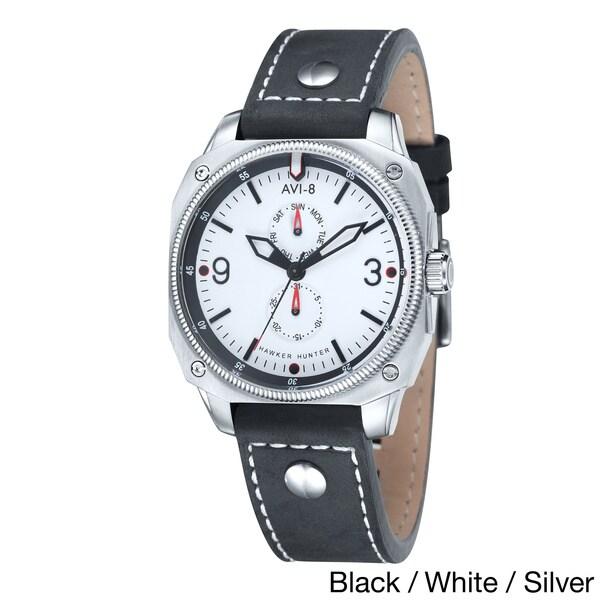 AVI-8 Men's 'Hawker Hunter' Black Leather Rivets Watch