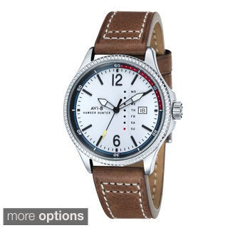 AVI-8 Men's 'Hawker Hunter' Custom Day/ Date Leather Strap Watch