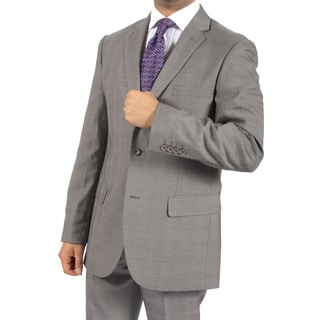 Ferrecci Men's Slim Fit Faint Grey and Purple Plaid 2-button Suit