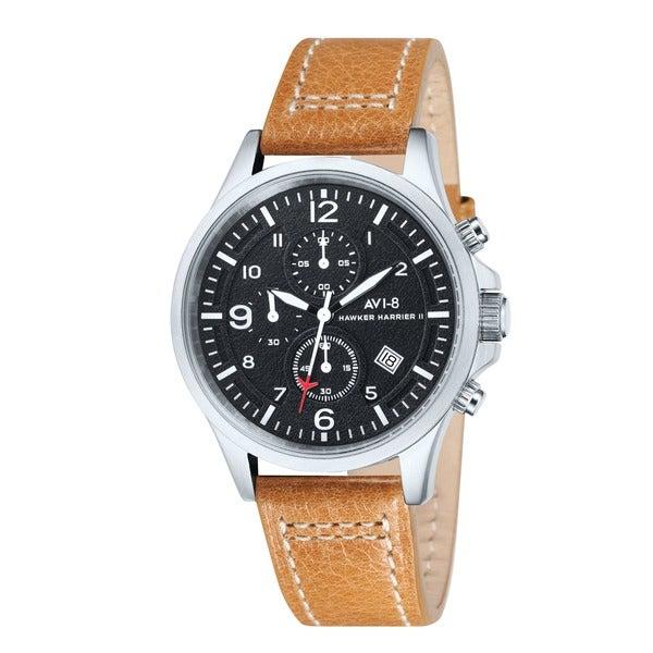 AVI-8 Men's 'Hawker Harrier II' Black Leather Strap Watch