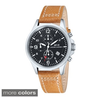 AVI-8 Men's 'Hawker Harrier II' Black Leather Strap Watch
