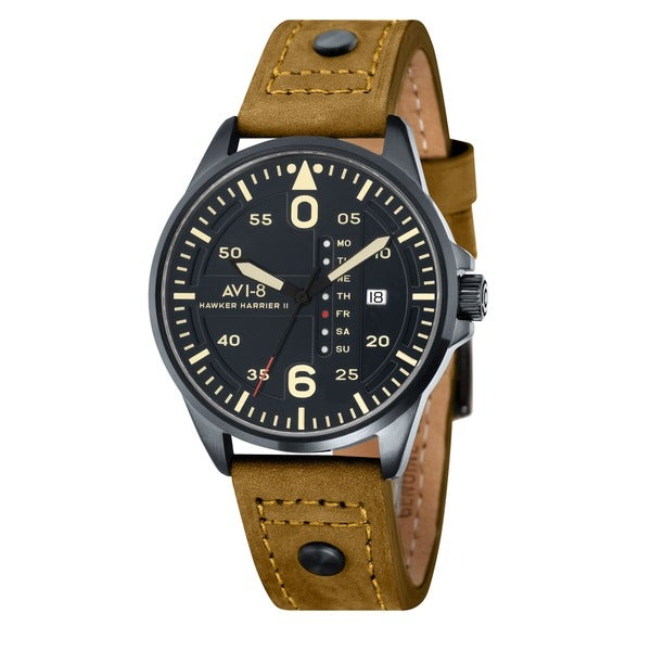 AVI-8 Men's 'Hawker Harrier II' Leather Strap Day/ Date Watch
