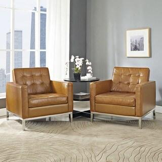Loft Tan Leather Tufted Armchair (Set of 2)