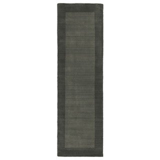 Hand-tufted Borders Grey Wool Rug (2'6 x 8'9)