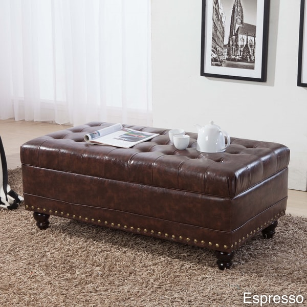 Castillian Collection Classic Tufted Nailhead Trim Storage Bench Ottoman