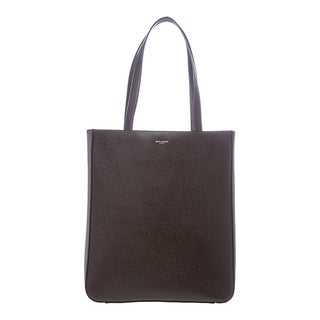 Saint Laurent Dark Brown Textured Leather Tote