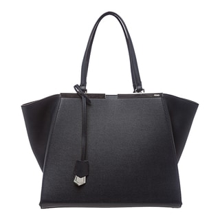 Fendi '3Jours' Navy Leather Shopping Tote