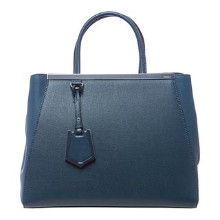 Fendi '2Jours' Medium Blue Leather Shopper Bag