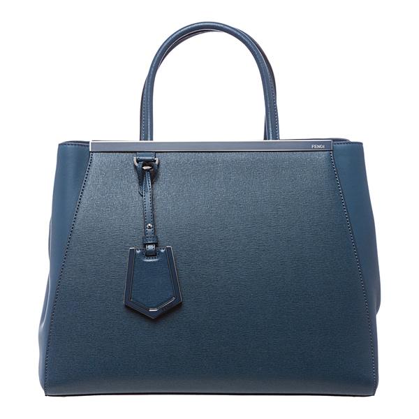 Fendi '2Jours' Medium Blue Leather Shopper Bag